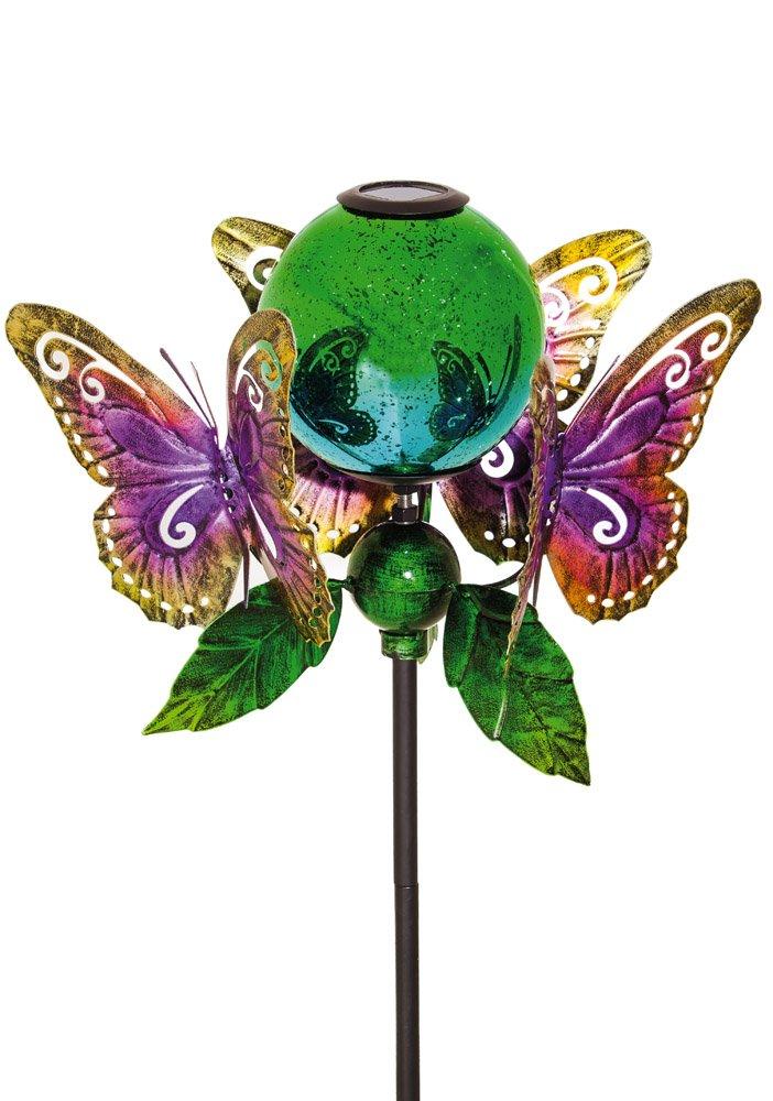 Evergreen Majestic Butterfly Solar Kinetic Globe Garden Stake