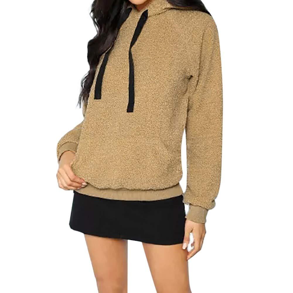 Kapuzenpullover Damen Sweatshirt Frauen Winter Warmer Kapuzenpulli Mantel Wolle Taschen Baumwollmantel Outwear Bluse ABsoar