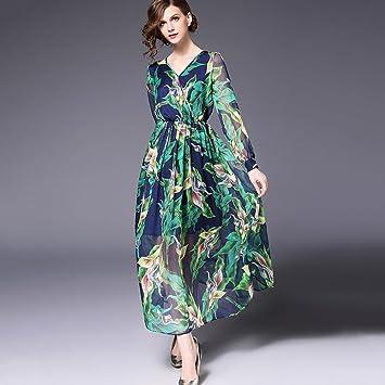 YAN Vestido de Mujer Vestidos de Mujer Street Chic Boho Swing Dress - Floral, Estampado