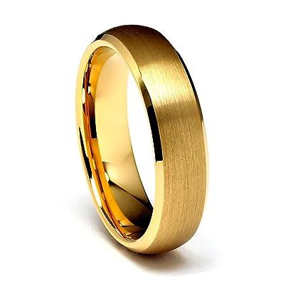 6mm gold tone beveled mens tungsten wedding band size 6 - Tungsten Wedding Ring