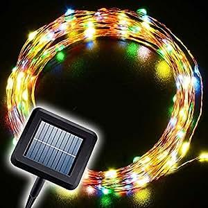 Funciona con energía solar String Lights, decorative al aire libre iluminación 10m 100leds Starry luces impermeable decoración para Patio jardín hogar boda, multi-colored