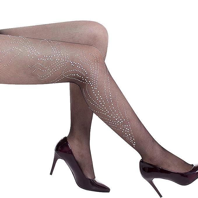 b81aa9112 Women Sexy Fishnet Rhinestone Nylon Pantyhose Elastic Tights Stockings  Costume Hosiery (Black)