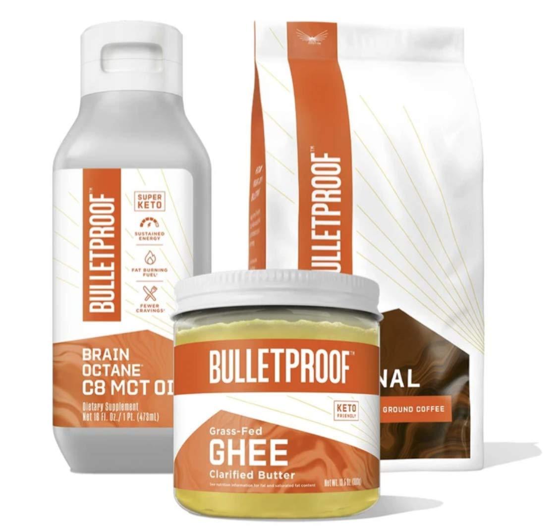 Bulletproof Coffee Starter Kit — The Original Medium Roast Ground Coffee - 12 Oz, Premium 100% C8 MCT Brain Octane Oil - 16 Oz, Grass-Fed Ghee Pasture Raised Clarified Butter Fat - 13.5 Oz
