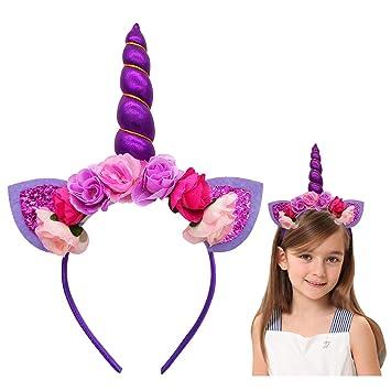 Unicorn Headband with Horn Flowers Ears for Girls Kids Women Birthday Party  (Purple) e73d498c8d0