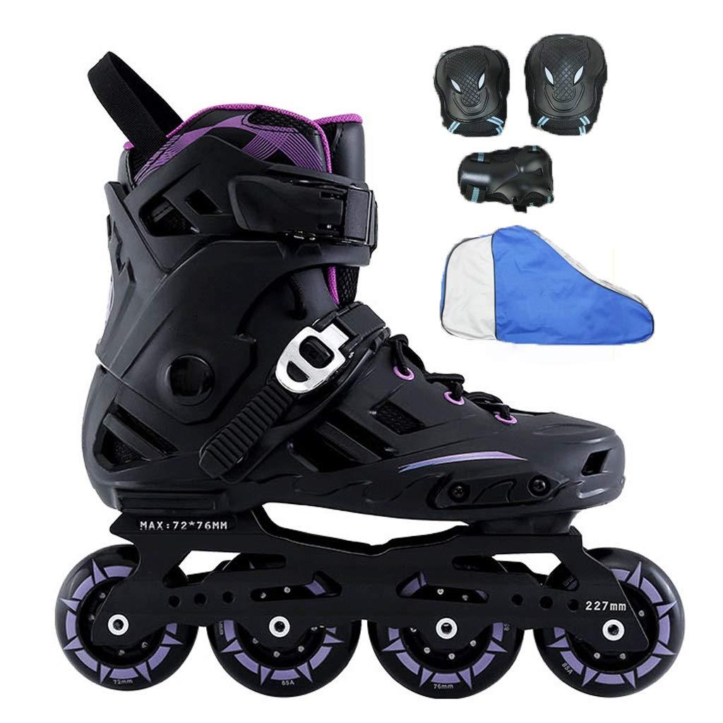 YANGXIAOYU ローラースケート、ローラースケートの女の子ローラースケートのスーツ紫黒白大人10代の若者に適して B07QV8JPH7 35|紫の 紫の 35
