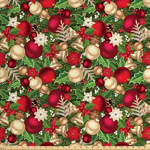 Ambesonne Christmas Fabric by The Yard, Tree Branches Spruce Leaves Balls Bells Cones Poinsettia Flowers Mistletoe Berry, Decorative Fabric for Upholstery and Home Accents, 2 Yards, Multicolor]()