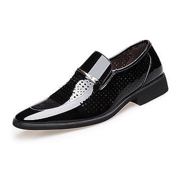 HILOTU Zapatos de Vestir Oxford para Hombres Mocasines sin Cordones de Cuero Pulido Liso PU Zapatos