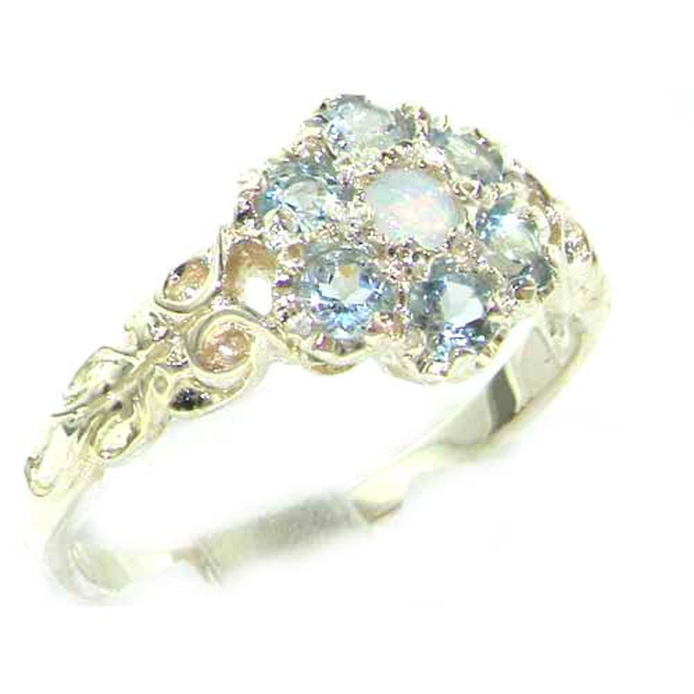 925 Sterling Silver Natural Opal and Aquamarine Womens Promise Ring - Size 7.5