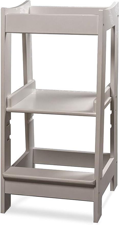 Torre de Aprendizaje Montessori para niños con altura ajustable y barra de seguridad (madera maciza) blanco blanco: Amazon.es: Bebé