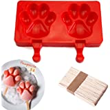 Silicone ICE POP Mold,DiDaDi 2 Cavities Cute ICE CAREM Bar Mould,Popsicle Molds DIY ICE CREAM Maker,Silicone Jelly Chocolate Candy Soap Molds with 20 Wooden Sticks - Paw