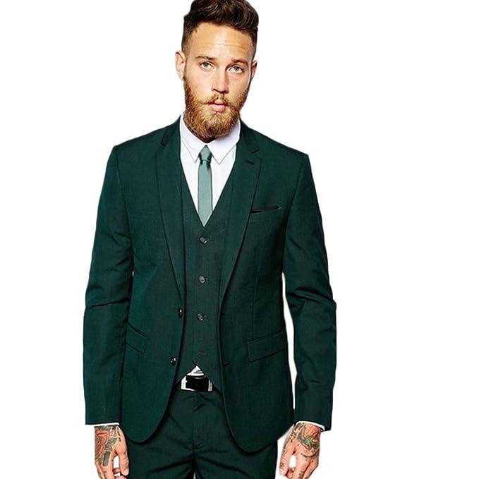 Amazon.com: yanlu 2 botones verde, 3 piezas hombres trajes ...