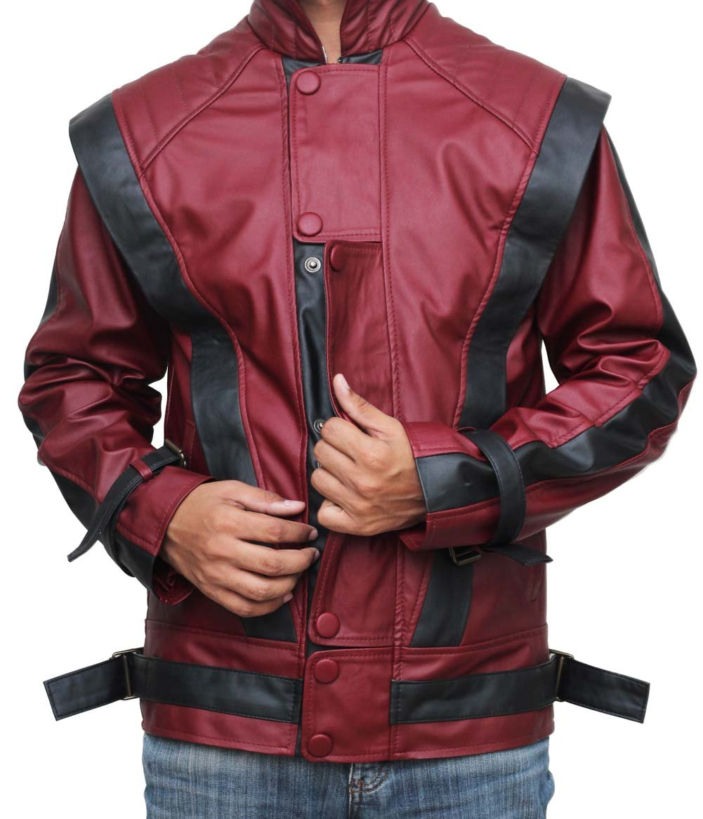 Red Leather Thriller Jacket For Men - Birthday Gift Ideas (L)