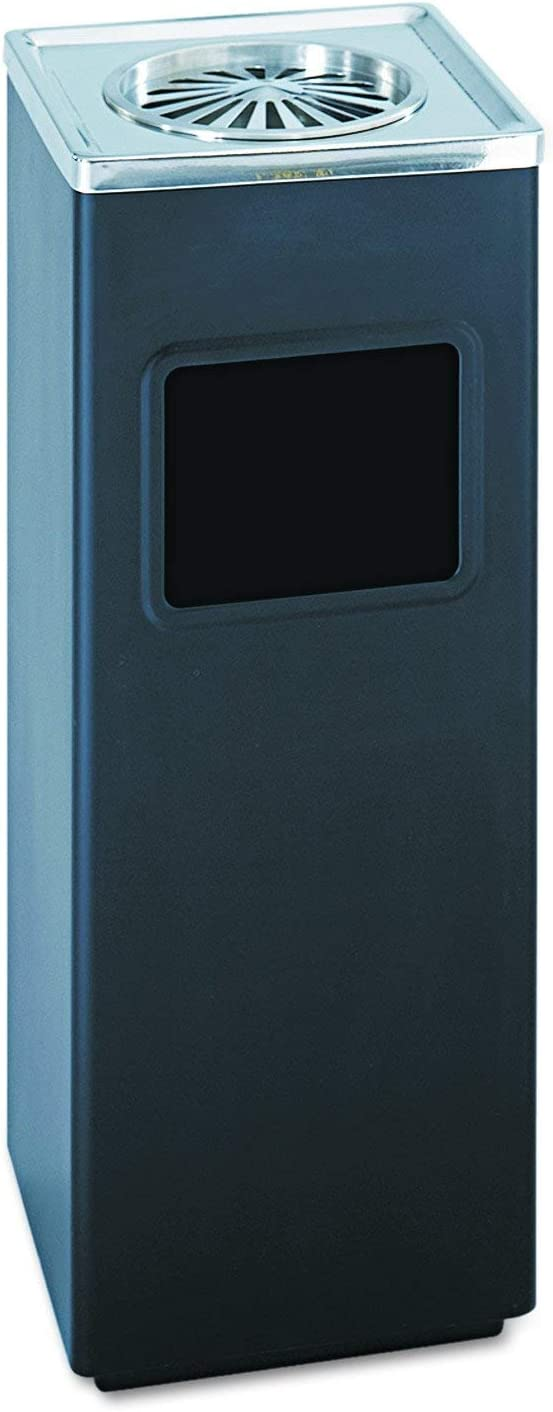 Safco Products 9696BL Square Ash And Trash Trash Can, Black