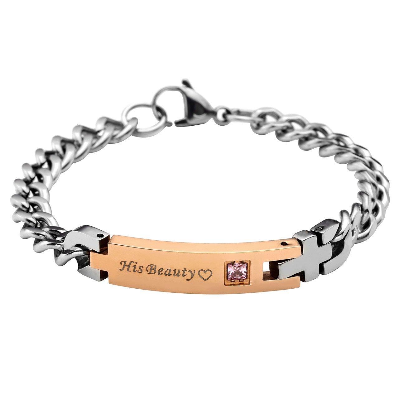 PiercingJ His Beauty und Her Beast Schrift ein Paar Partner Armbänder Curb Kette Armband aus Edelstahl für Herren Damen 7.3\