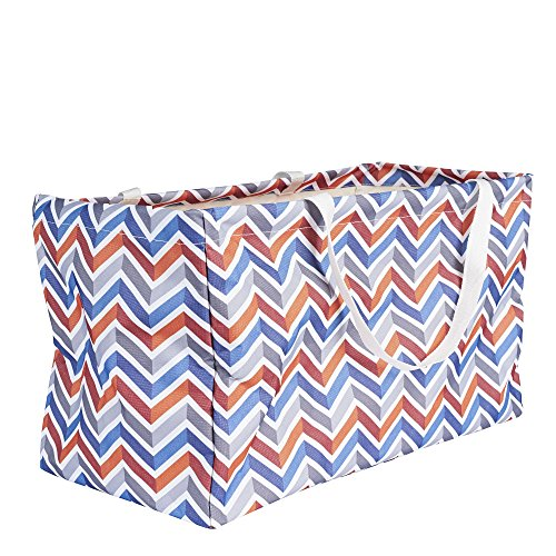 Household Essentials 2216 Krush Canvas Utility Tote | Reusable Grocery Shopping Bag | Laundry Carry Bag | Chevron Large Grocery Tote