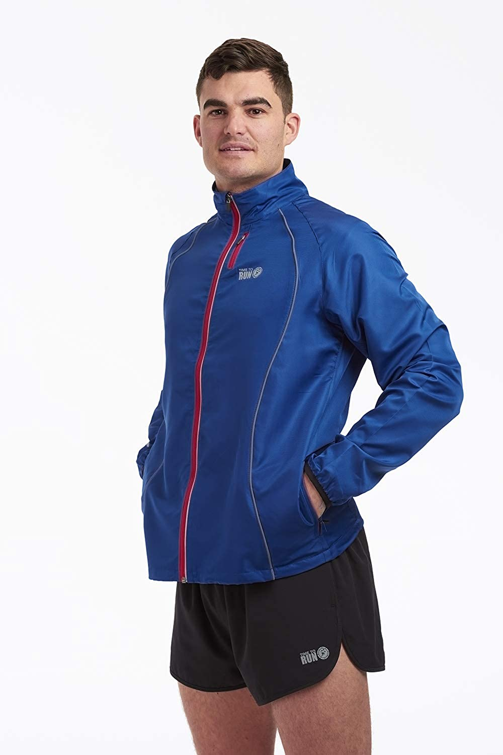time to run Mens Windproof Running/Workout/Track Windbreaker Jacket