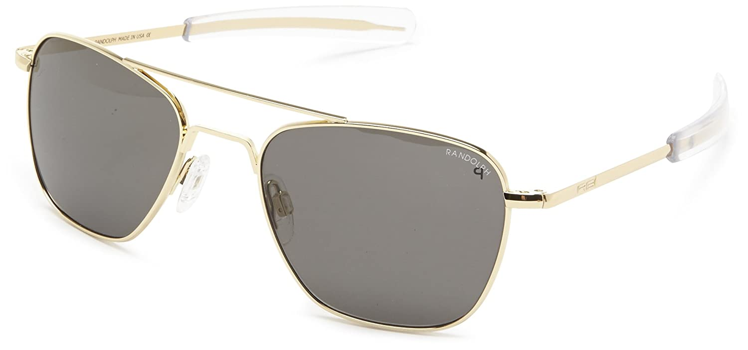 Amazon.com  Randolph Aviator Polarized Sunglasses,23K Gold Plated Grey 52  mm  Clothing 6a16170059b2