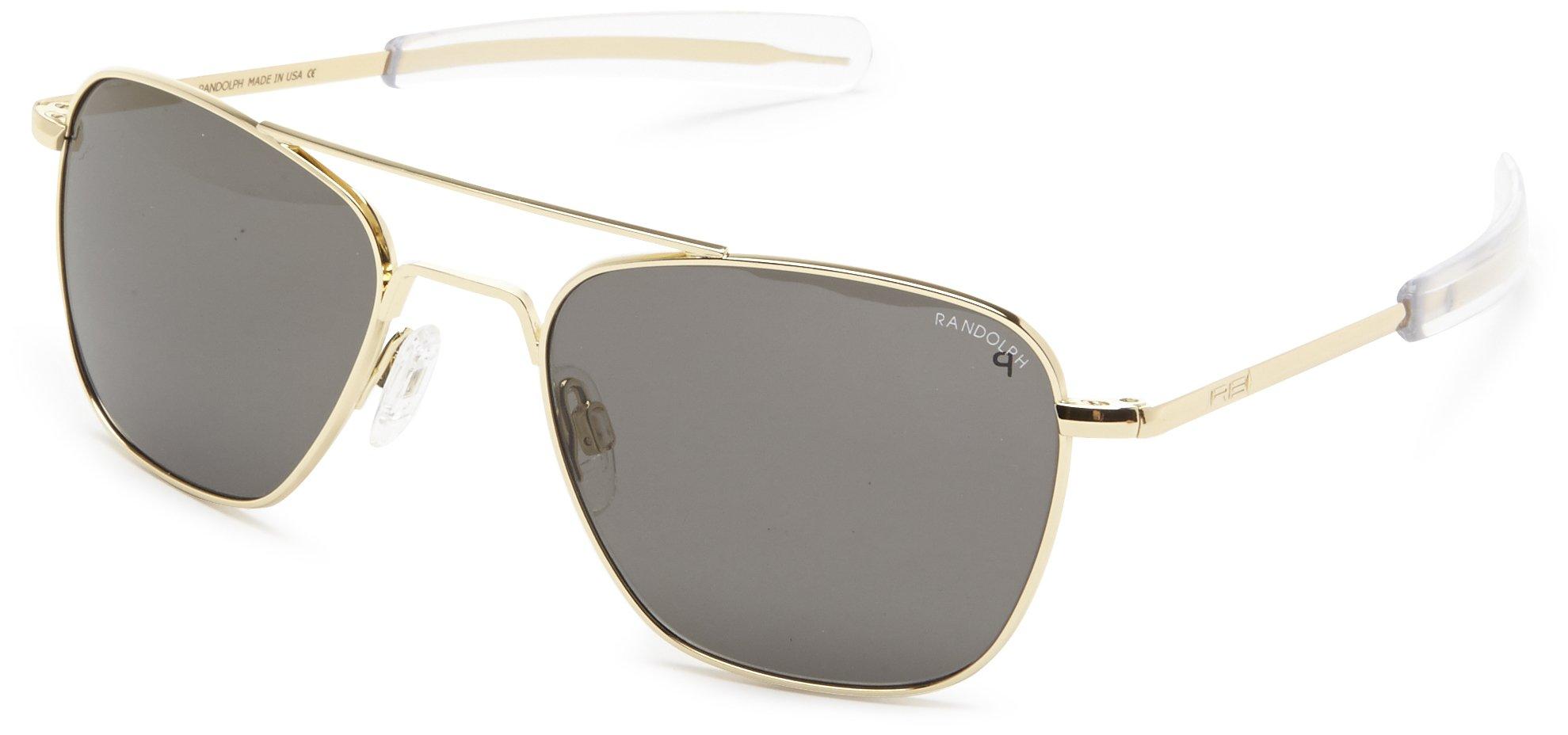 Randolph Aviator Polarized Sunglasses,23K Gold Plated/Grey 52 mm
