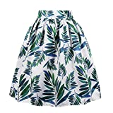 Cleaivy Women's Midi Pleated A Line Floral Printed Vintage Skirts (Green Leaves Pocket, X-Large)