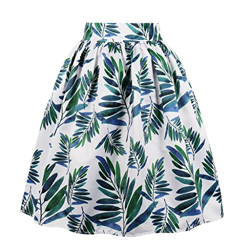 Cleaivy Women's Midi Pleated A Line Floral Printed Vintage Skirts (Green Leaves Pocket, XX-Large)