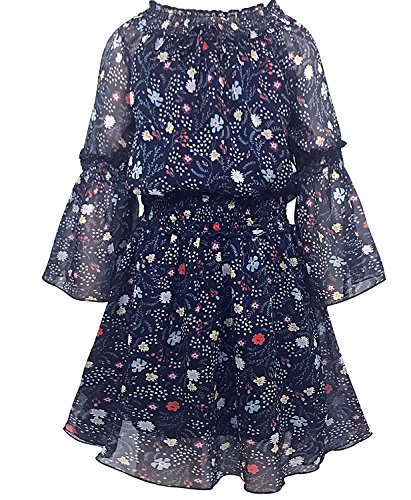 Smukke, Big Girls Elegant Floral Printed Chiffon Off-The Shoulder Long Sleeves Dress and Rompers, 7-16 (Navy Multi, 10) -