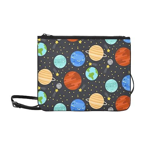 WYYWCY Estrellas de los planetas de dibujos animados lindo en Nylon de alto grado delgado Bolsa de embrague Bolsa de cuerpo cruzado Bolsa de hombro: ...