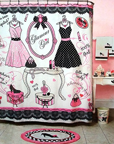 Glamour Girl Pink, Black & White Shower Curtain - Fashion Icon