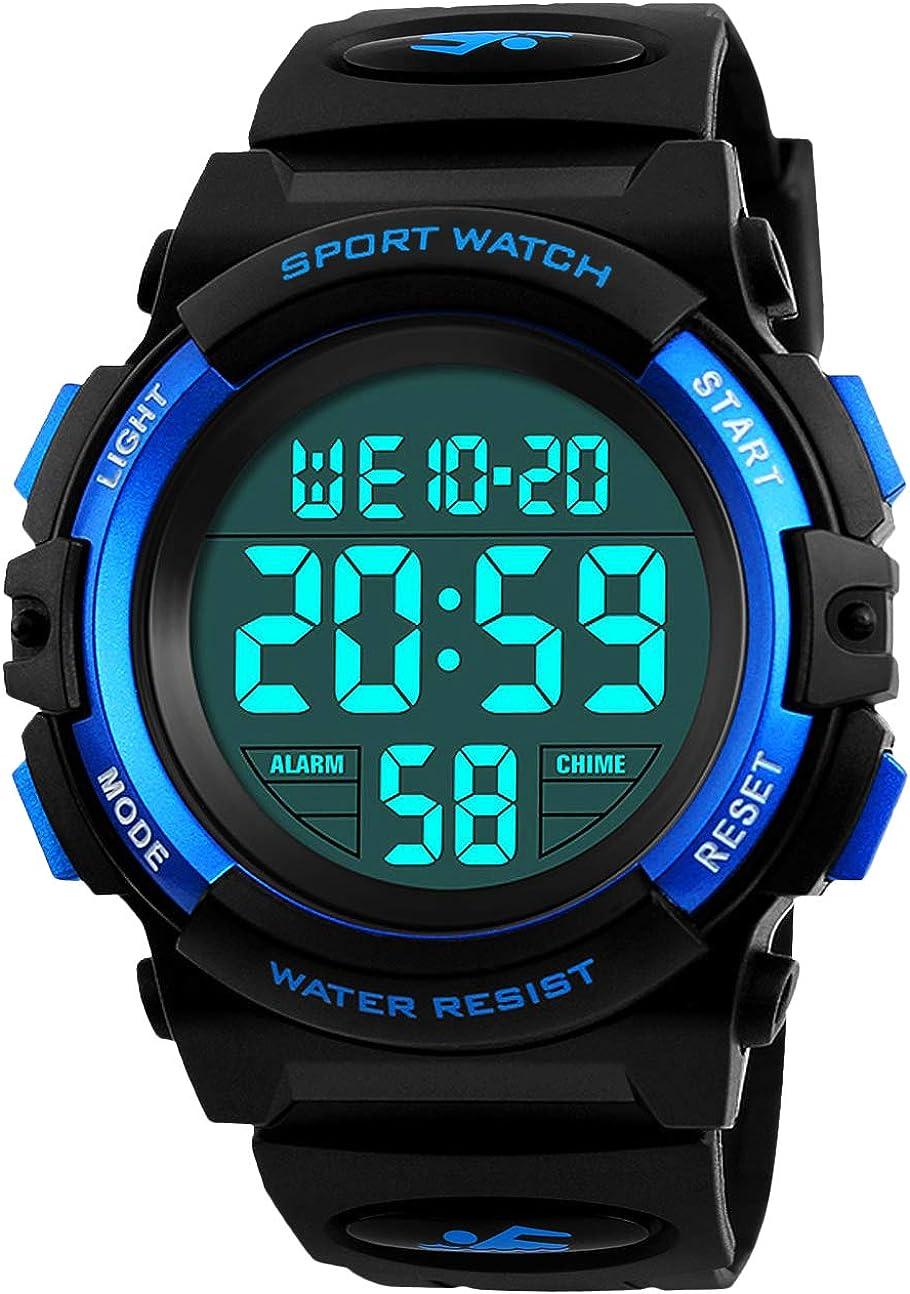 Relojes para niños, Relojes Deportivos para niños, Relojes Deportivos para niños, 5 Relojes a Prueba de Agua con Alarma/Temporizador/luz, Reloj Azul para niños por BHGWR