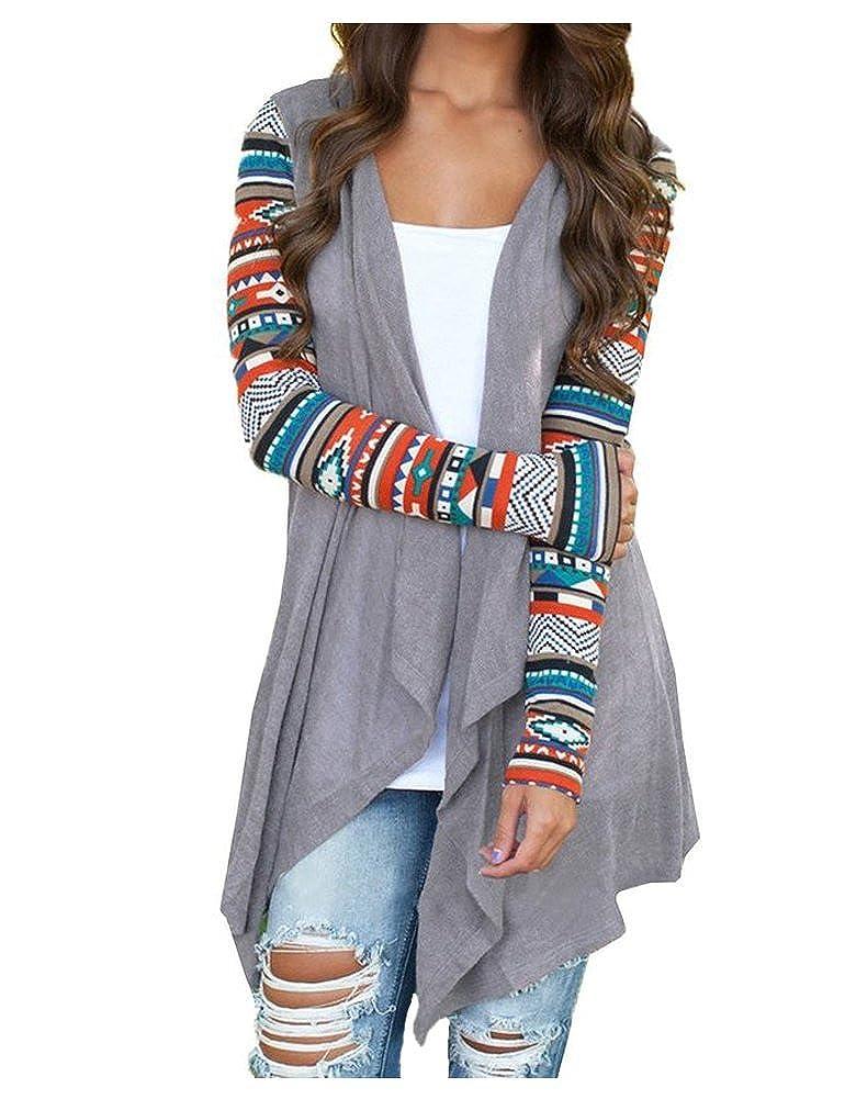 BienBien Donna Maniche Lunghe Cardigan Aperto Giacca Blazer Cappotto di Autunno Primavera Boho Stampa Kimono Maglione Camicia Casual Moda