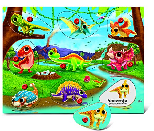 - Puzzled Dinosaur Land Wooden Peg Puzzle (9 Piece)