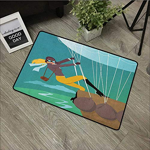 Living Room Door mat W31 x L47 INCH Explore,Vintage Cartoon Style Explorer Spy Woman Figure Adventurer on a Hot Air Balloon, Multicolor Easy to Clean, Easy to fold,Non-Slip Door Mat Carpet