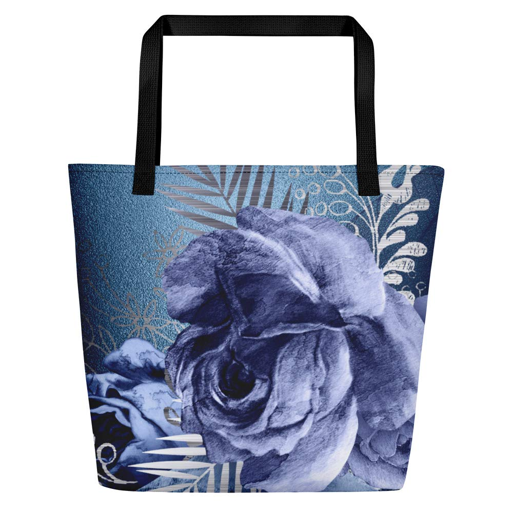 Beach Bag floral blue roses beach vacation travel bag floral pattern boho style gift idea for women
