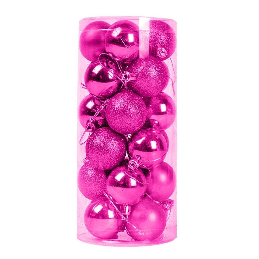 IVYRISE 24 PCS Festival Party Wedding Christmas Tree Hook Pendent Shatterproof Ornament Balls Decorative Hanging Balls, 1.57 INCH / 4 CM, Rose Balls