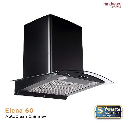 H R Auto >> Hindware 60cm 1100 M3 Hr Auto Clean Chimney Elena Black 60 Black