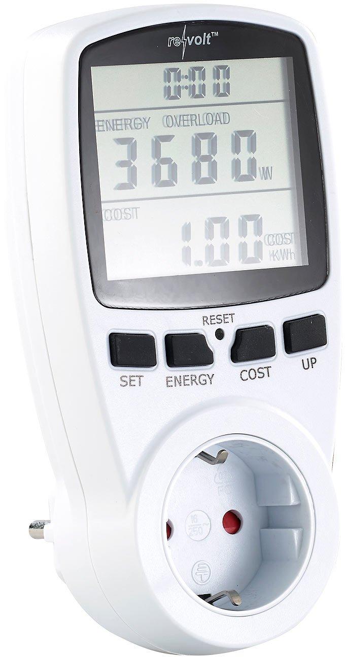 revolt Energiekostenmessgerät: Digitaler Energiekostenmesser mit XXL Jumbo Display, bis 3.680 Watt (Strommessgerät) product image