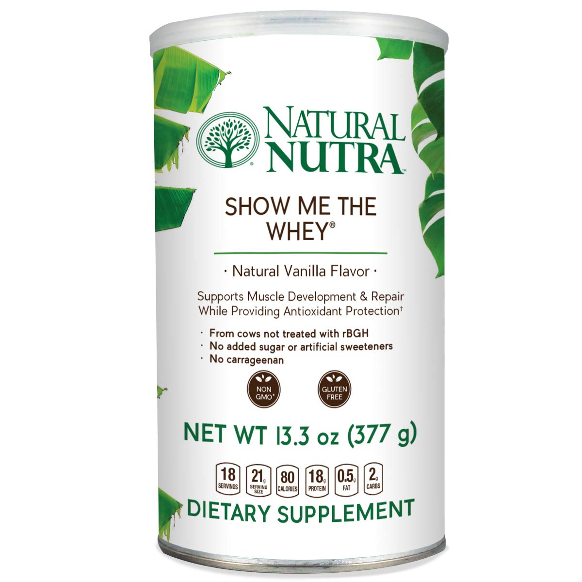 Natural Nutra Grass Fed Vanilla Whey Protein Isolate Powder, Best Tasting Amazing Flavor, Free Range, Gluten Free, Sugar Free, Non GMO, Show Me The Whey Protein Powder, 13.3oz