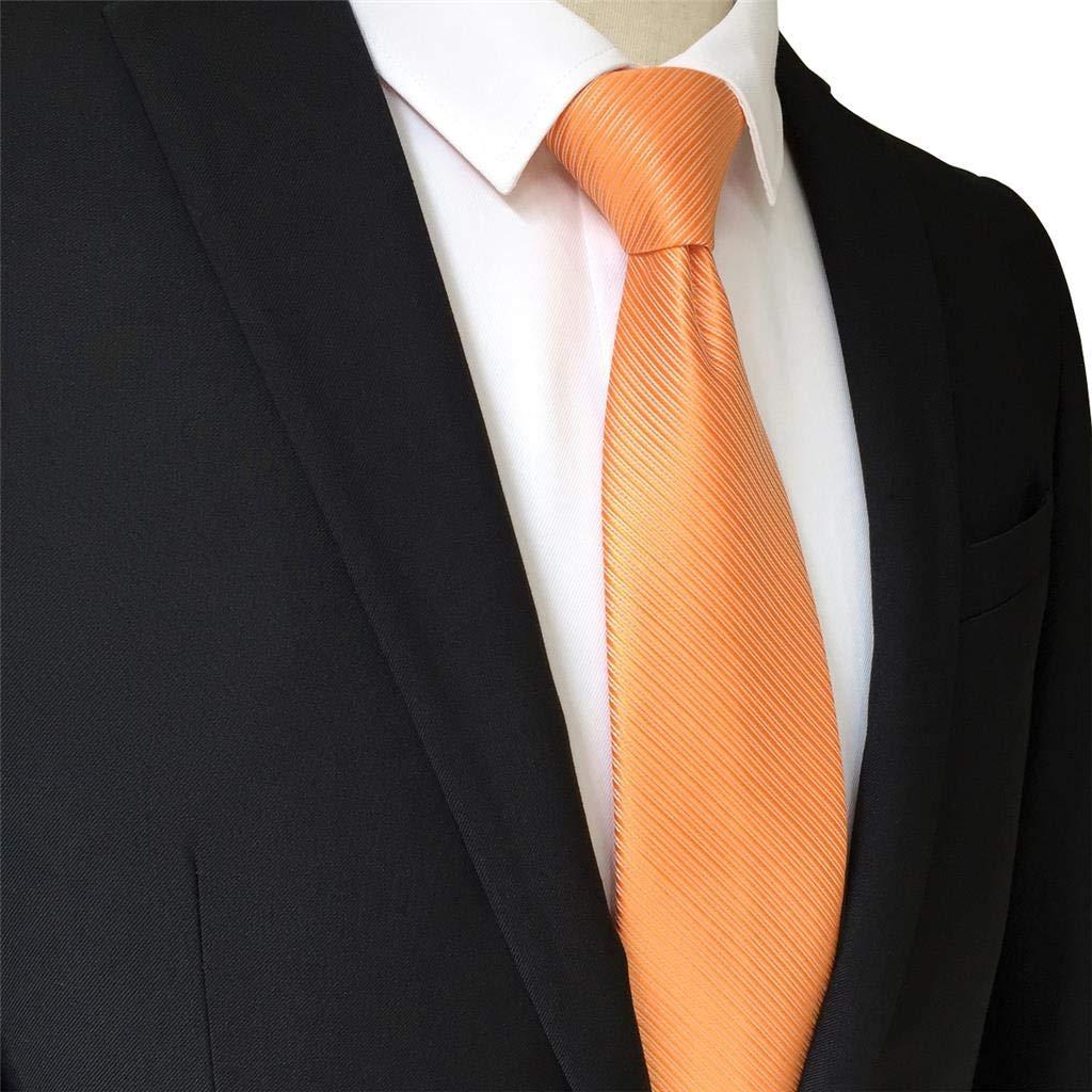 S/&W SHLAX/&WING Solid Orange Herren Krawatte Seide Extra Lang Party