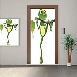 Ylljy00 Animal Decor Door Wall Mural Wallpaper Stickers,Little Frog on Branch of The Tree in Rainforest Nature Jungle Life Artsy Earth 24x63 Vinyl Removable Decals for Home Decoration