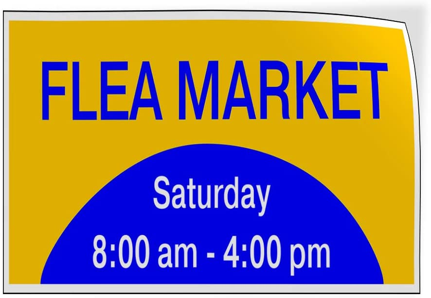 Custom Door Decals Vinyl Stickers Multiple Sizes Flea Market Day Times Blue Yellow Business Flea Market Outdoor Luggage /& Bumper Stickers for Cars Blue 24X18Inches Set of 10