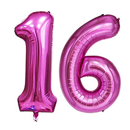 Amazon GOER 42 Inch Pink 16 Number Balloons For 16th Birthday