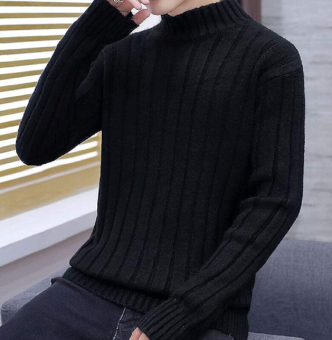 Cromoncent Men Mock Turtle Neck Striped Pure Colour Knit Pullover Sweaters