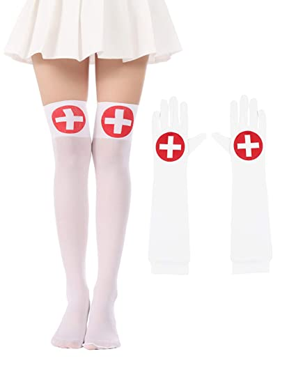 c0381a92fca74 Amazon.com: Women Halloween Thigh High Long Stockings Over Knee Costume St.  Patrick's Day Tights (34-Nurse Sets): Clothing