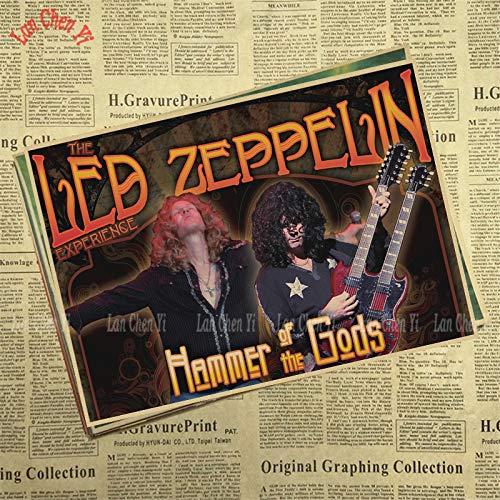 1 piece Led Zeppelin Band Classic Nostalgic Matte Kraft Paper Poster Cafe Creative wallpaper Interior Decoration -