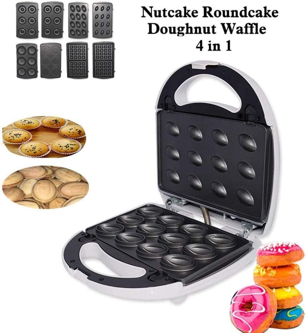 Gofrera 4 en 1, sandwichera, tostadora tuerca, donut máquina fabricante de hierro, las placas de revestimiento profundo antiadherentes fácil de limpiar 750 W, control automático de temperatura BTZHY