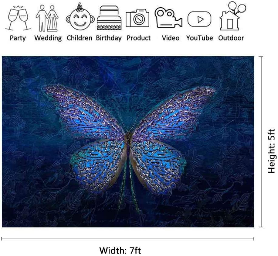 FLASIY 7x5ft Butterfly Backdrop Room Mural Photo Backgrounds for Kids Studio Party Photo Shooting Props GEAY593