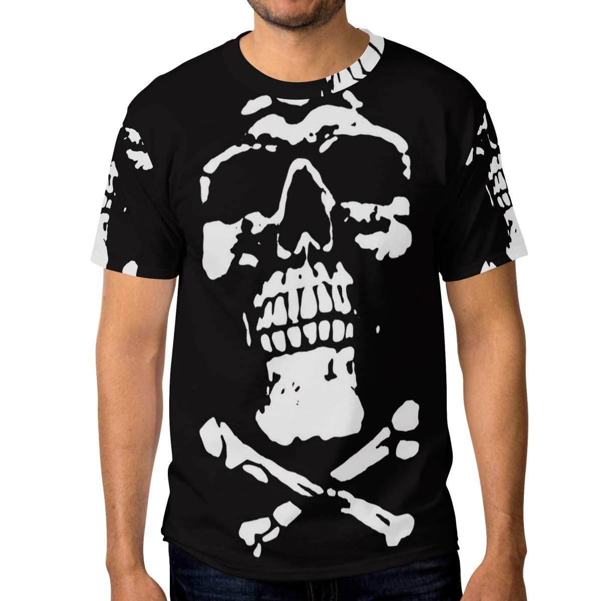 Horatiood Huberyyd Funny Skull Black Scary Mens T Shirts Graphic Funny Body Print Short T-Shirt Unisex Pullover Blouse