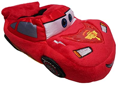 Disney Cars Embroidered Lightning McQueen Little Boys Slippers Small Size 5 6 US Toddler