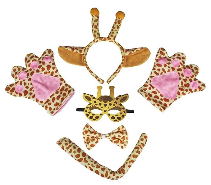 Petitebelle Jirafa máscara de la venda Guantes de cola Bowtie Disfraz de 5 piezas para niño Niños Talla marrón: Amazon.es: Bebé