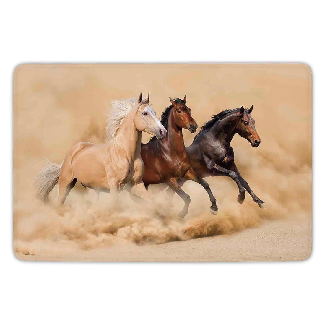 Bathroom Bath Rug Kitchen Floor Mat Carpet,Horses,Three Horse Running in Desert Storm Mythical Mystic Messenger Animals Habitat Print,Cream Brown,Flannel Microfiber Non-slip Soft Absorbent