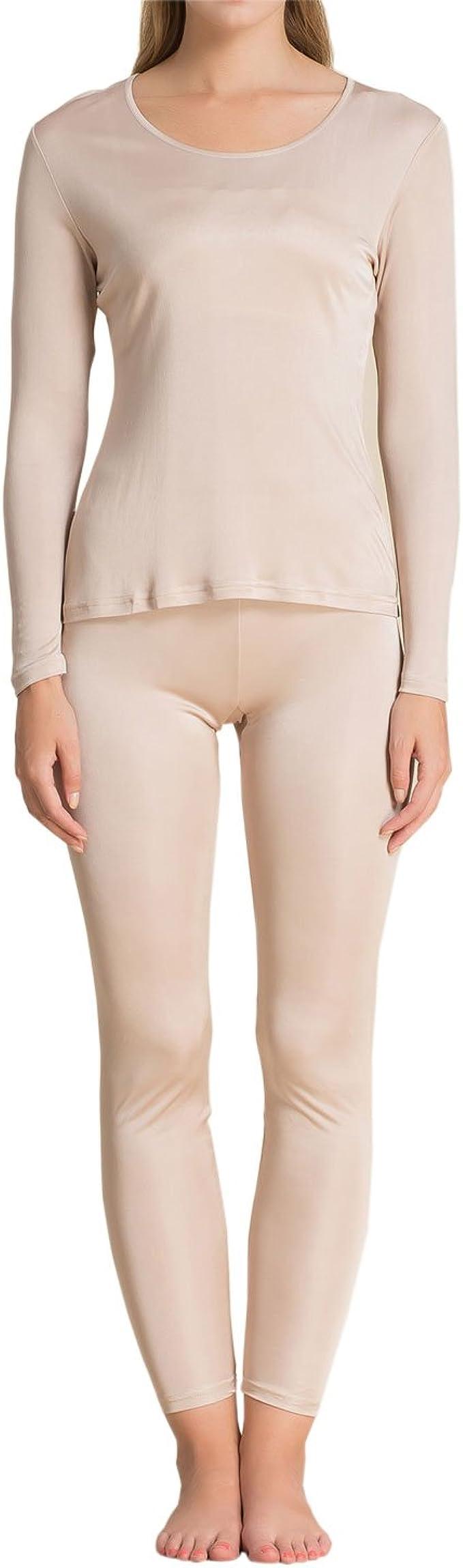 Silk Long Johns for Women Fashion Silk Womens Silk Thermal Underwear Sets Silk Long Underwear Sets